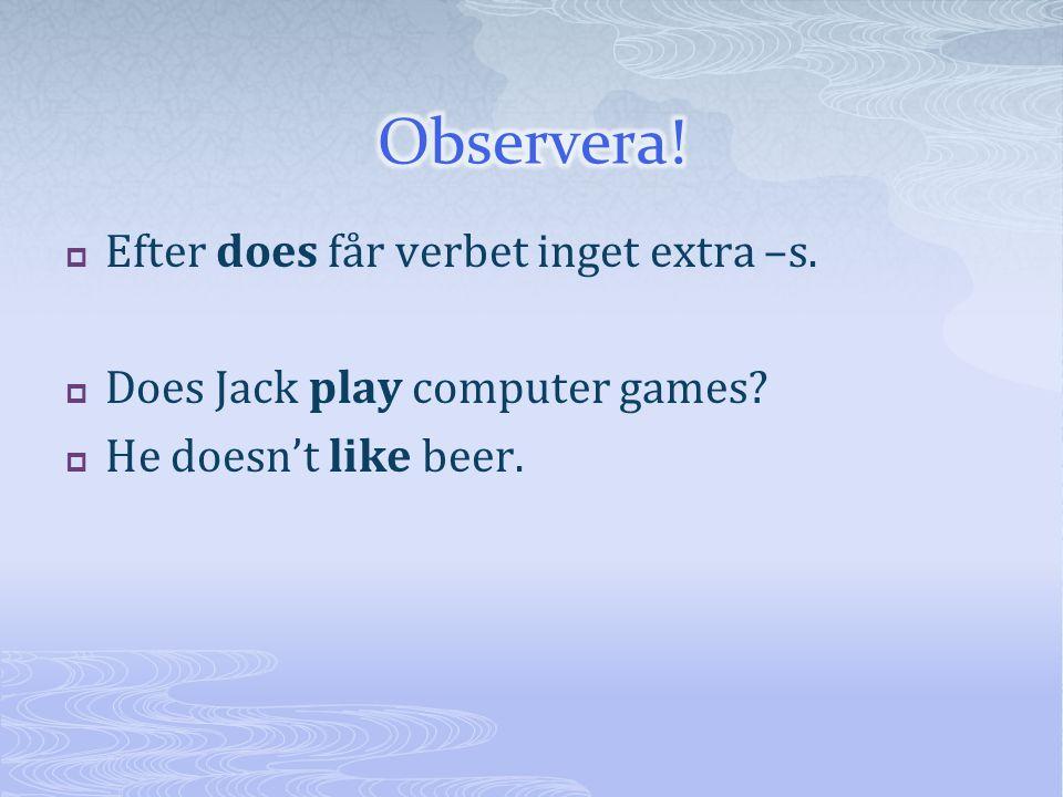  Efter does får verbet inget extra –s.  Does Jack play computer games?  He doesn't like beer.