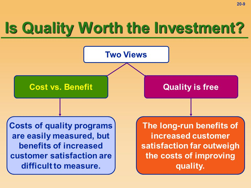 20-8 Improving Quality Total Quality Management (TQM) Managing an organization so that it excels in areas important to the customer Total Quality Management (TQM) Managing an organization so that it excels in areas important to the customer Organization strives for excellence Quality is defined by the customer