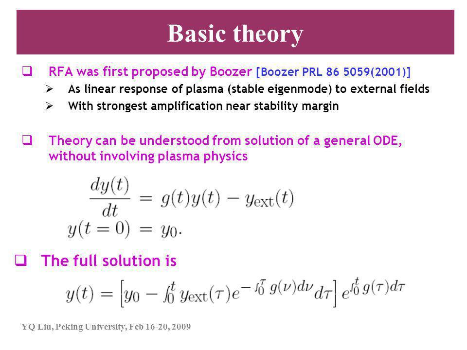 YQ Liu, Peking University, Feb 16-20, 2009 Stability also tests damping model