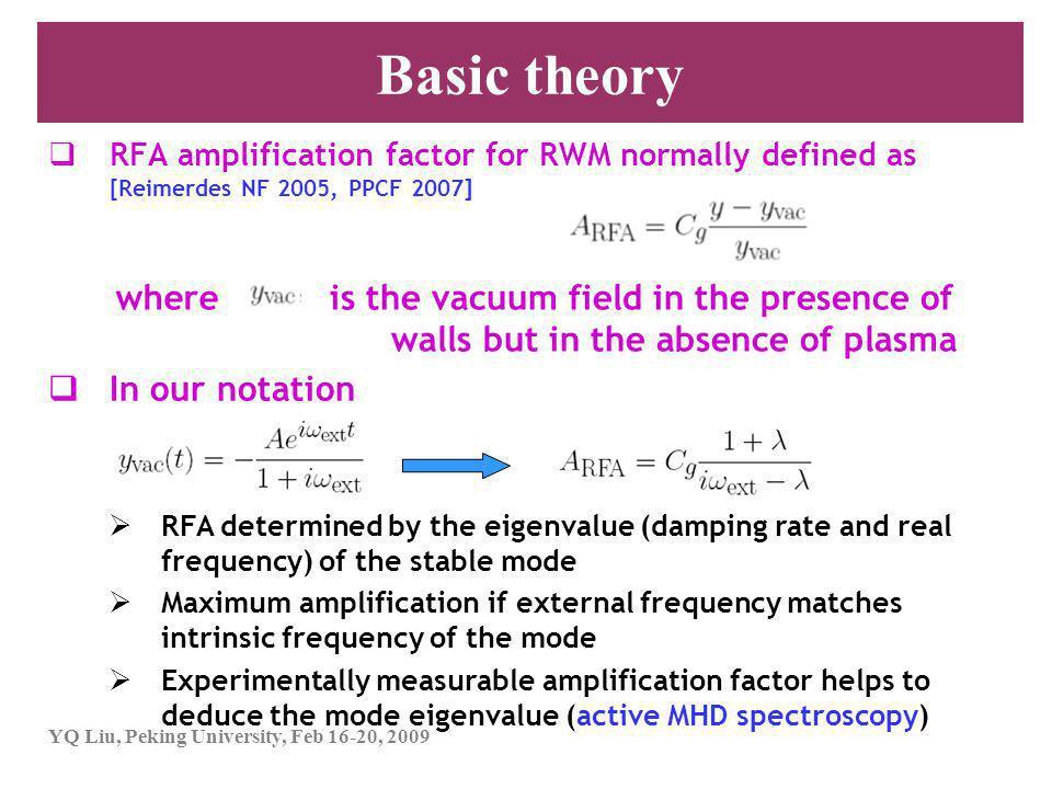 YQ Liu, Peking University, Feb 16-20, 2009 Outline 1.Introduction 1)What is resonant field amplification (RFA).