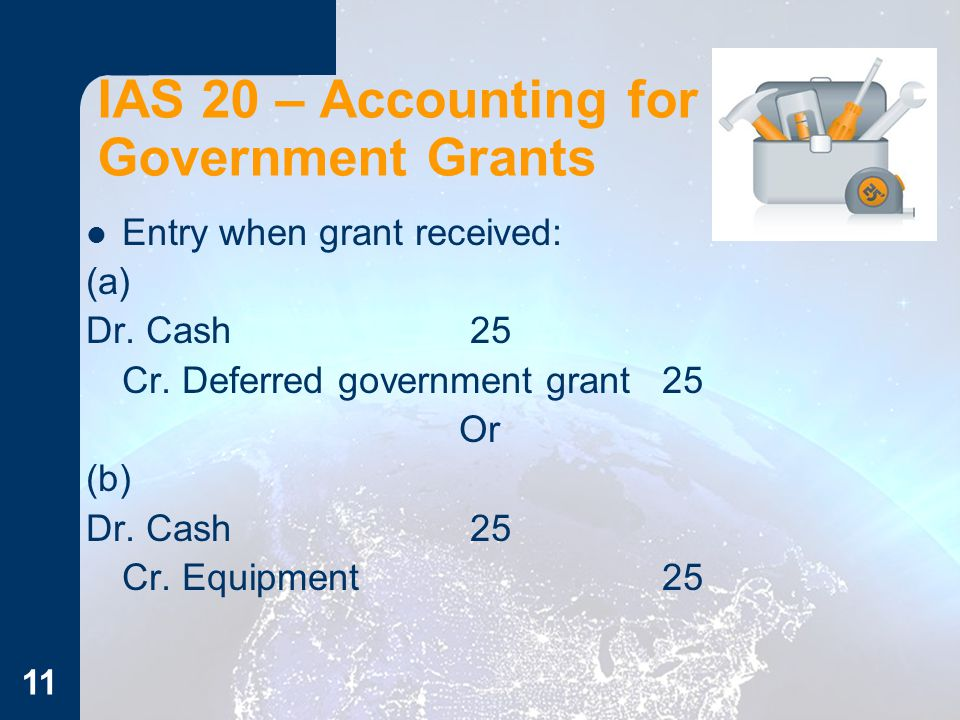 11 IAS 20 – Accounting for Government Grants Entry when grant received: (a) Dr. Cash25 Cr. Deferred government grant25 Or (b) Dr. Cash25 Cr. Equipment