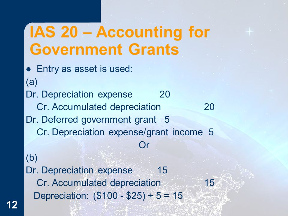 12 IAS 20 – Accounting for Government Grants Entry as asset is used: (a) Dr. Depreciation expense 20 Cr. Accumulated depreciation 20 Dr. Deferred gove