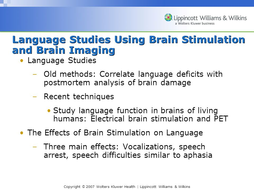 Copyright © 2007 Wolters Kluwer Health | Lippincott Williams & Wilkins Language Studies Using Brain Stimulation and Brain Imaging Language Studies –Old methods: Correlate language deficits with postmortem analysis of brain damage –Recent techniques Study language function in brains of living humans: Electrical brain stimulation and PET The Effects of Brain Stimulation on Language –Three main effects: Vocalizations, speech arrest, speech difficulties similar to aphasia