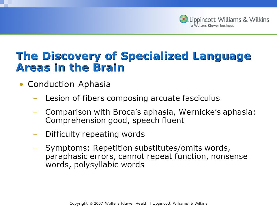 Copyright © 2007 Wolters Kluwer Health | Lippincott Williams & Wilkins Conduction Aphasia –Lesion of fibers composing arcuate fasciculus –Comparison with Broca's aphasia, Wernicke's aphasia: Comprehension good, speech fluent –Difficulty repeating words –Symptoms: Repetition substitutes/omits words, paraphasic errors, cannot repeat function, nonsense words, polysyllabic words The Discovery of Specialized Language Areas in the Brain