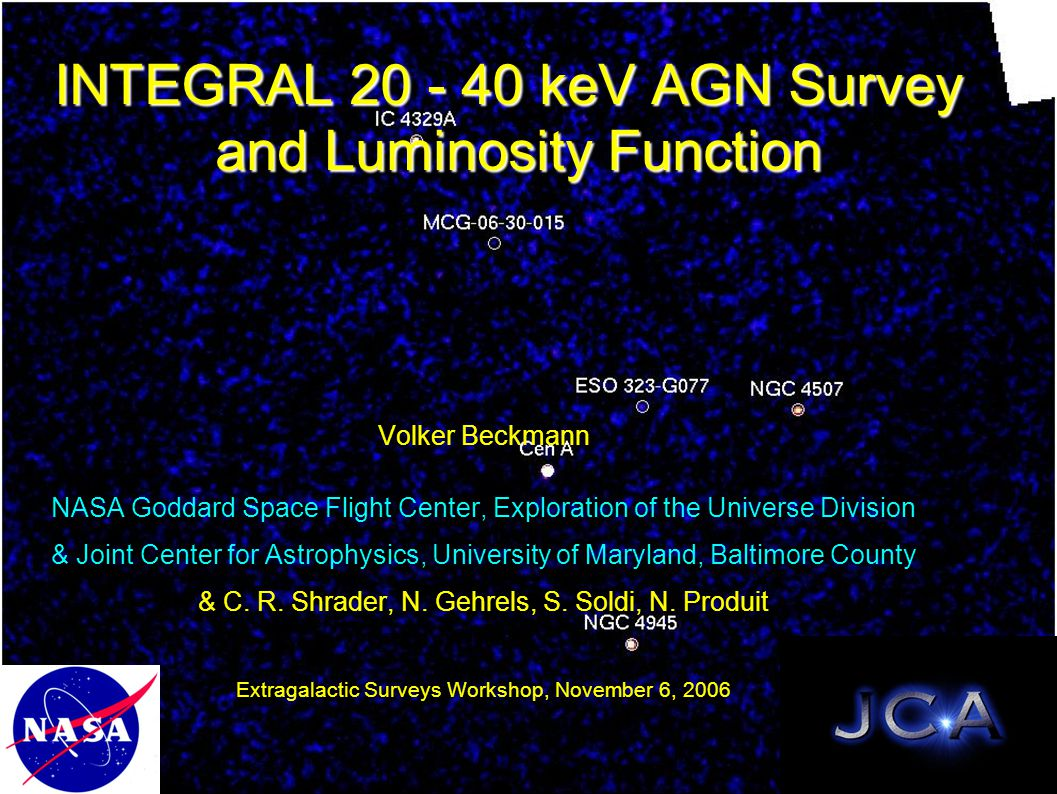 INTEGRAL 20 - 40 keV AGN Survey and Luminosity Function Volker Beckmann NASA Goddard Space Flight Center, Exploration of the Universe Division & Joint