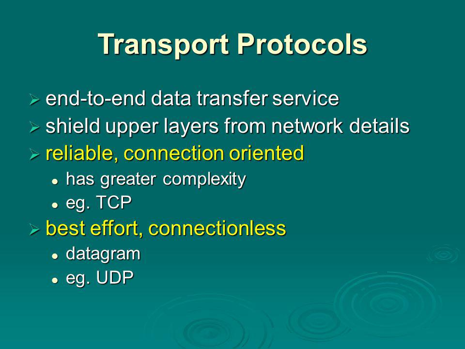 Connection Oriented Transport Protocols  provides establishment, maintenance & termination of a logical connection  most common service  used for a wide variety of applications  is reliable  but complex  first discuss evolution from reliable to unreliable network services
