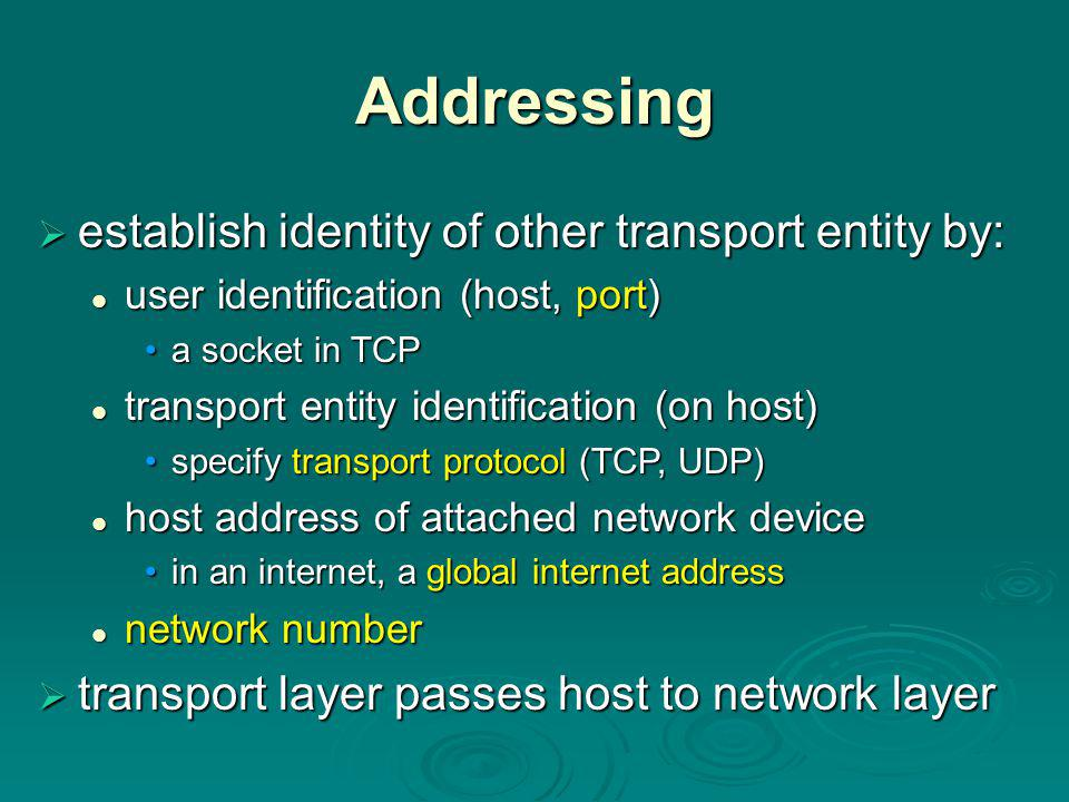 TCP Mechanisms Connection Establishment  three way handshake SYN, SYN-ACK, ACK SYN, SYN-ACK, ACK  connection determined by source and destination sockets (host, port)  can only have a single connection between any unique pairs of ports  but one port can connect to multiple different destinations (different ports)