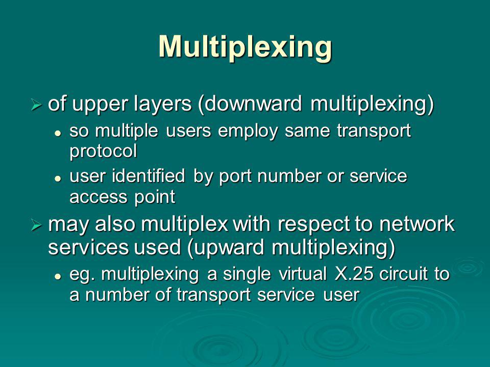 Multiplexing  of upper layers (downward multiplexing) so multiple users employ same transport protocol so multiple users employ same transport protocol user identified by port number or service access point user identified by port number or service access point  may also multiplex with respect to network services used (upward multiplexing) eg.
