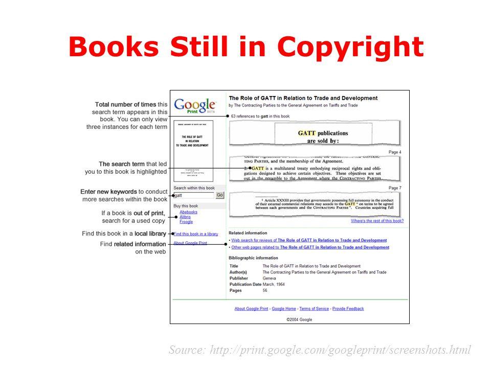 Books Still in Copyright Source: http://print.google.com/googleprint/screenshots.html