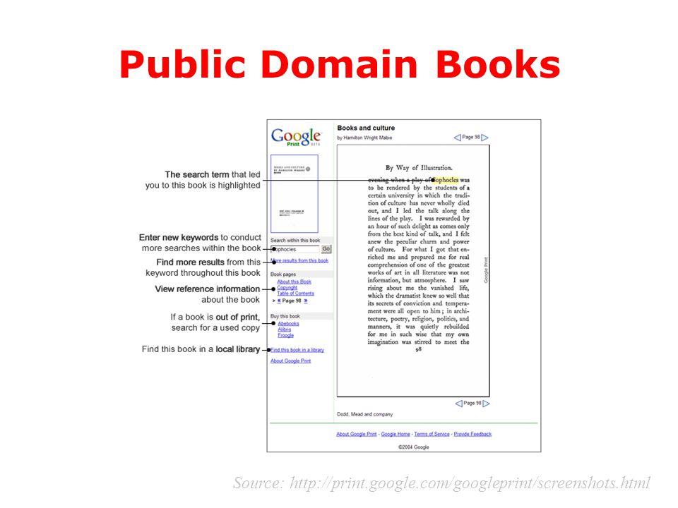 Public Domain Books Source: http://print.google.com/googleprint/screenshots.html