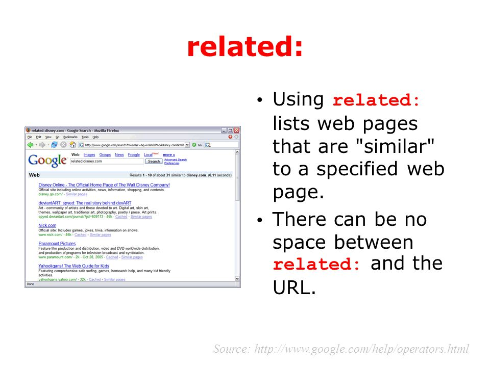 related: Using related: lists web pages that are