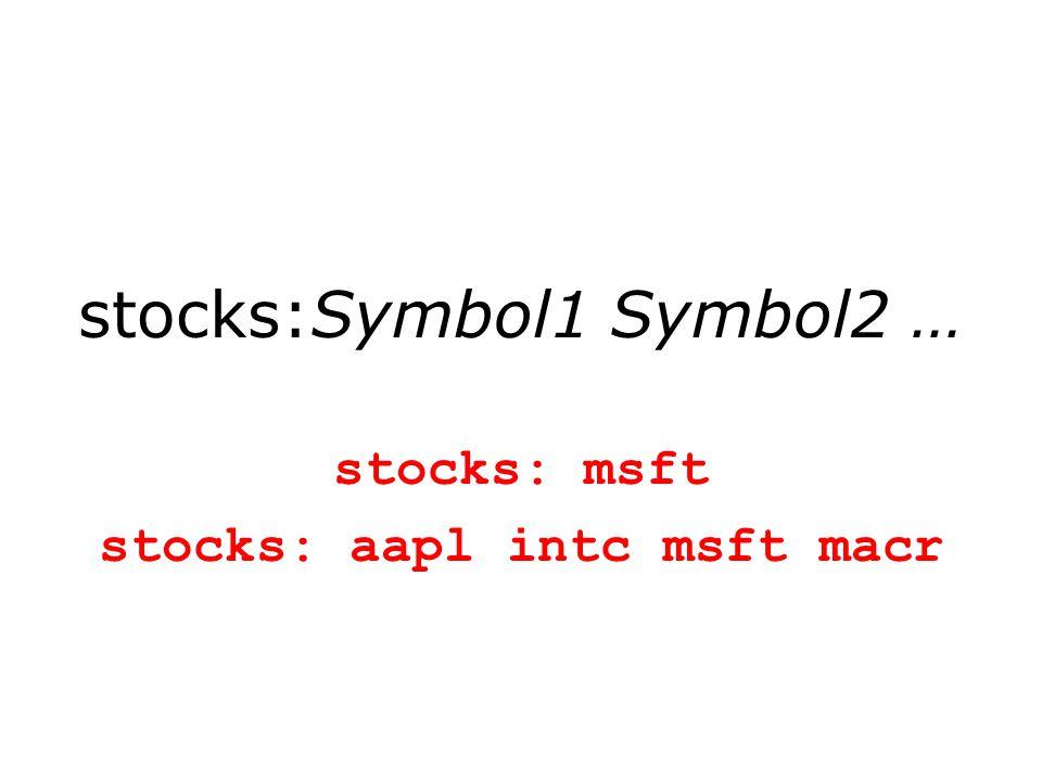 stocks:Symbol1 Symbol2 … stocks: msft stocks: aapl intc msft macr