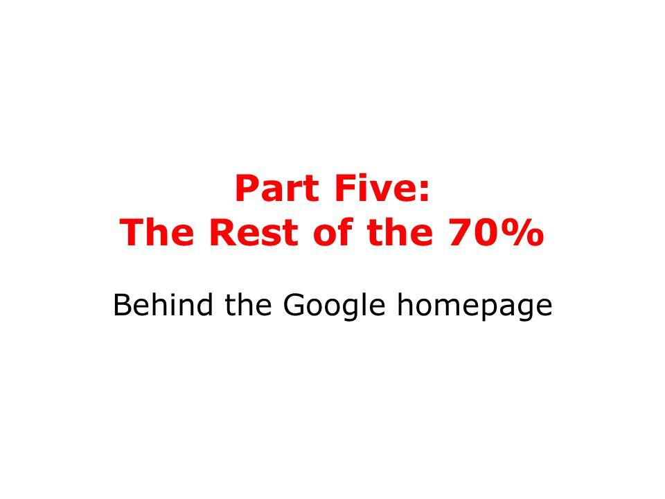 Part Five: The Rest of the 70% Behind the Google homepage
