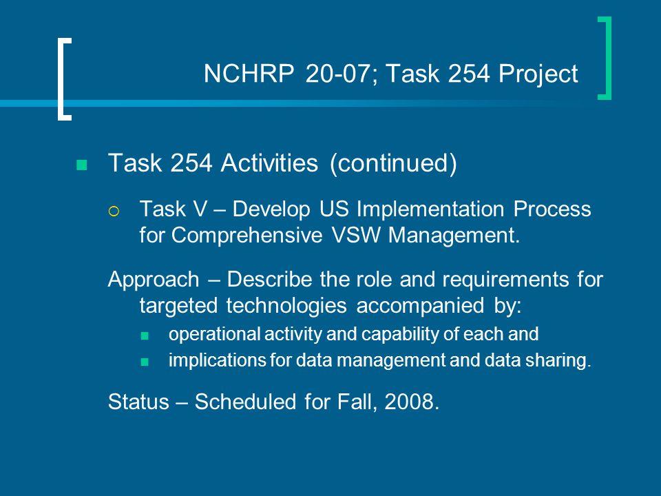 NCHRP 20-07; Task 254 Project Task 254 Activities (continued)  Task V – Develop US Implementation Process for Comprehensive VSW Management.