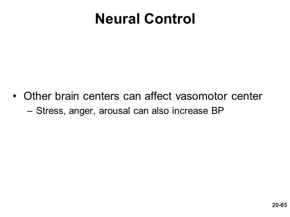 20-65 Neural Control Other brain centers can affect vasomotor center –Stress, anger, arousal can also increase BP