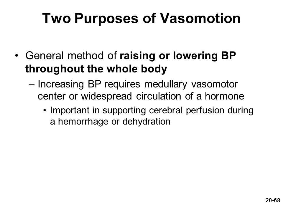 20-68 Two Purposes of Vasomotion General method of raising or lowering BP throughout the whole body –Increasing BP requires medullary vasomotor center