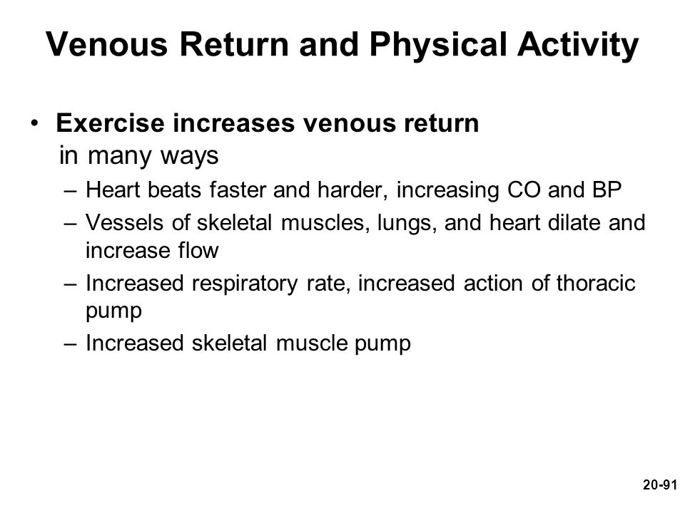 20-91 Venous Return and Physical Activity Exercise increases venous return in many ways –Heart beats faster and harder, increasing CO and BP –Vessels