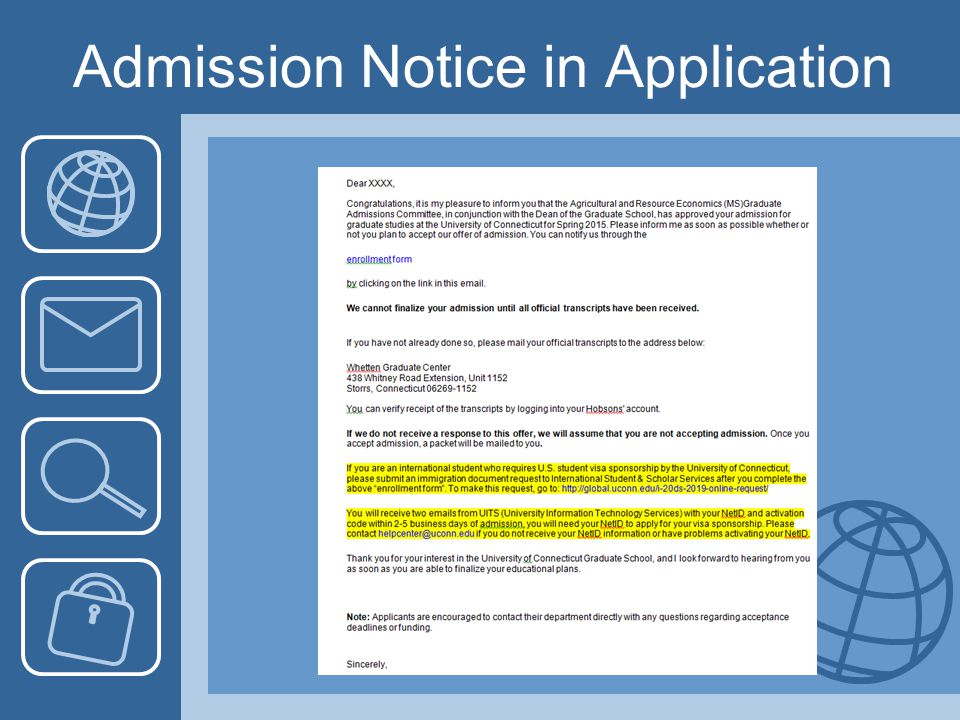 Admission Notice in Application