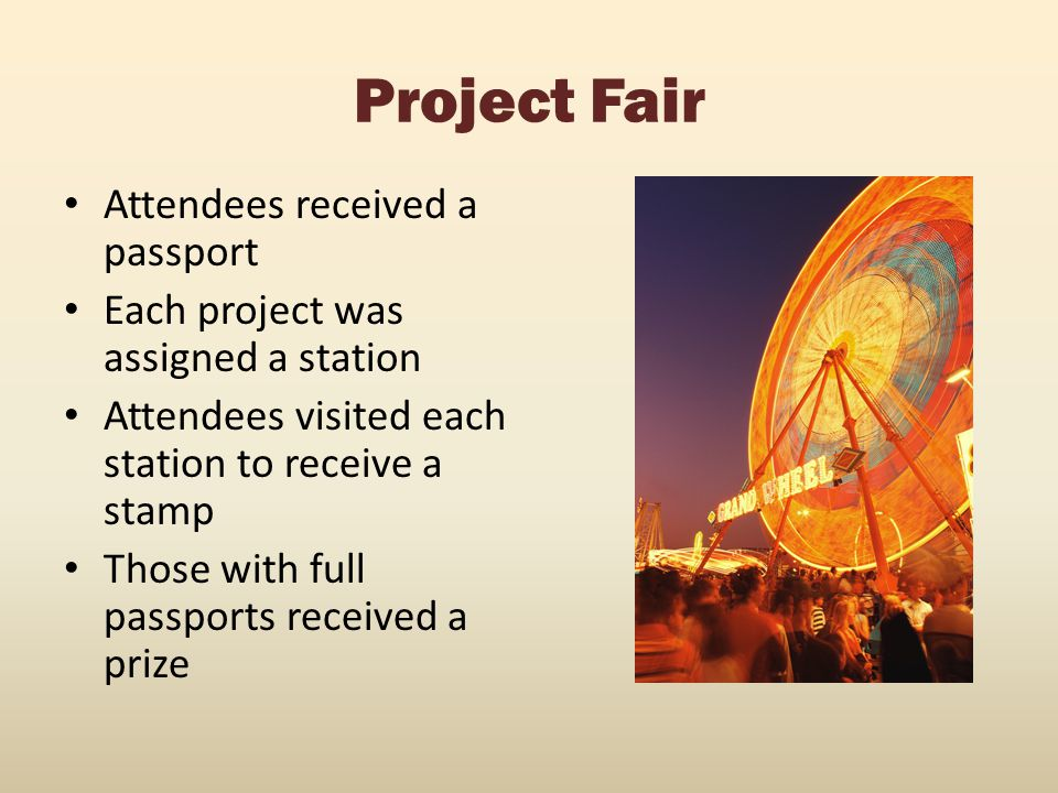 Project Fair Attendees received a passport Each project was assigned a station Attendees visited each station to receive a stamp Those with full passp