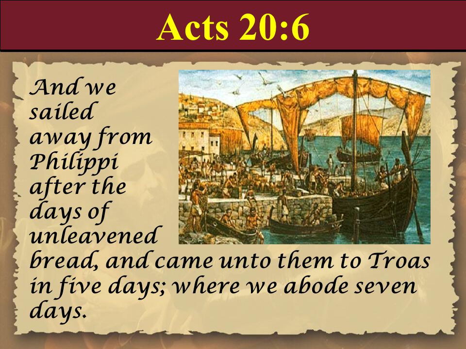 Acts 20:7-8 And upon the first day of the week, when the disciples came together to break bread, Paul preached unto them, ready to depart on the morrow; and continued his speech until midnight.