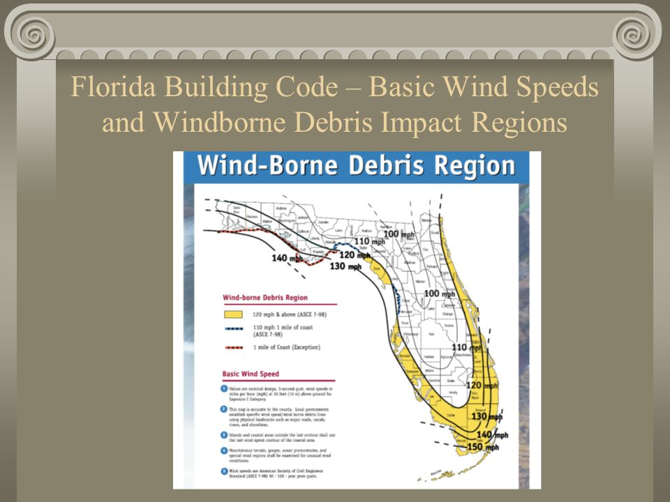 Florida Building Code – Basic Wind Speeds and Windborne Debris Impact Regions