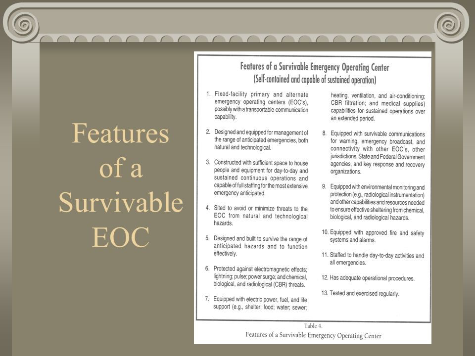 Features of a Survivable EOC