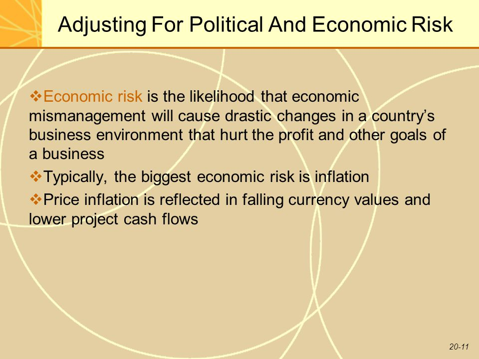 20-11 Adjusting For Political And Economic Risk  Economic risk is the likelihood that economic mismanagement will cause drastic changes in a country's business environment that hurt the profit and other goals of a business  Typically, the biggest economic risk is inflation  Price inflation is reflected in falling currency values and lower project cash flows