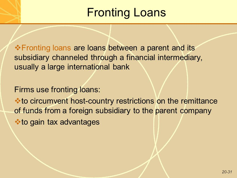 20-31 Fronting Loans  Fronting loans are loans between a parent and its subsidiary channeled through a financial intermediary, usually a large international bank Firms use fronting loans:  to circumvent host-country restrictions on the remittance of funds from a foreign subsidiary to the parent company  to gain tax advantages