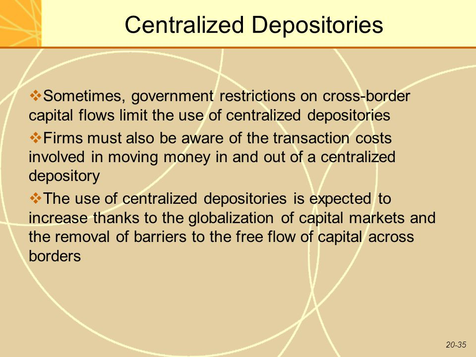 20-35 Centralized Depositories  Sometimes, government restrictions on cross-border capital flows limit the use of centralized depositories  Firms must also be aware of the transaction costs involved in moving money in and out of a centralized depository  The use of centralized depositories is expected to increase thanks to the globalization of capital markets and the removal of barriers to the free flow of capital across borders
