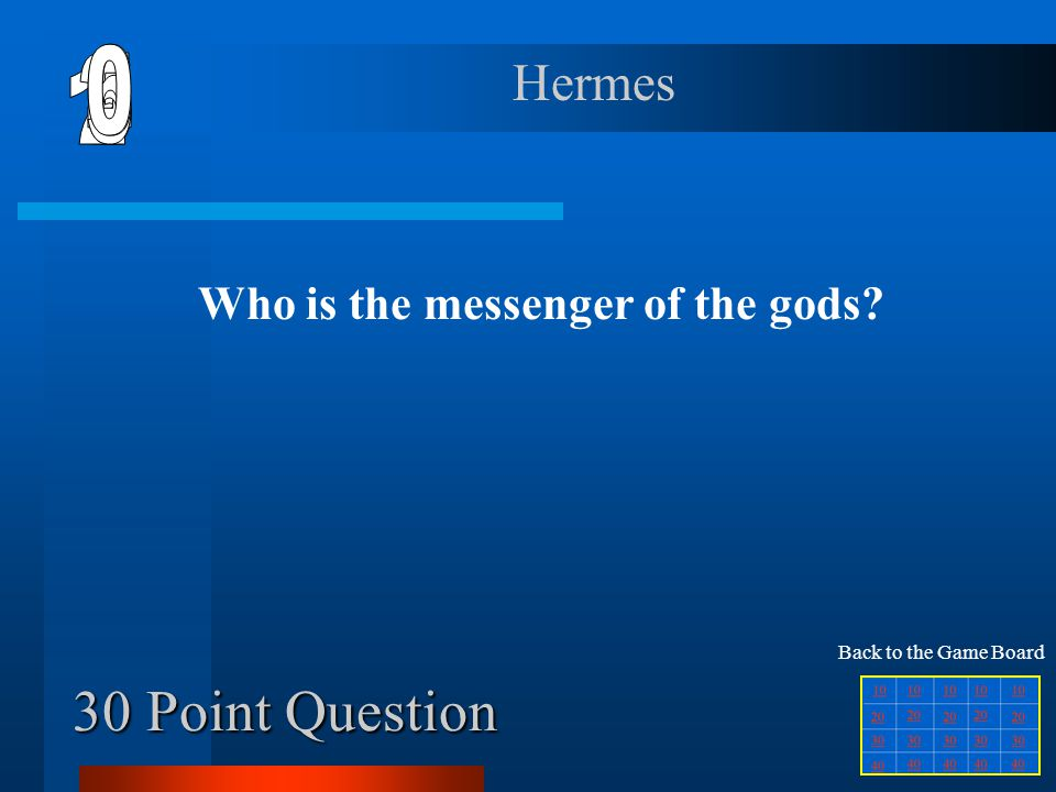 20 Point Question Who is the goddess of wisdom Athena Back to the Game Board