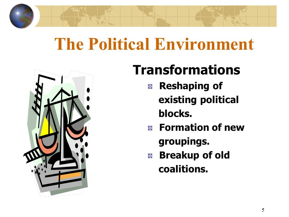 5 The Political Environment Transformations Reshaping of existing political blocks.