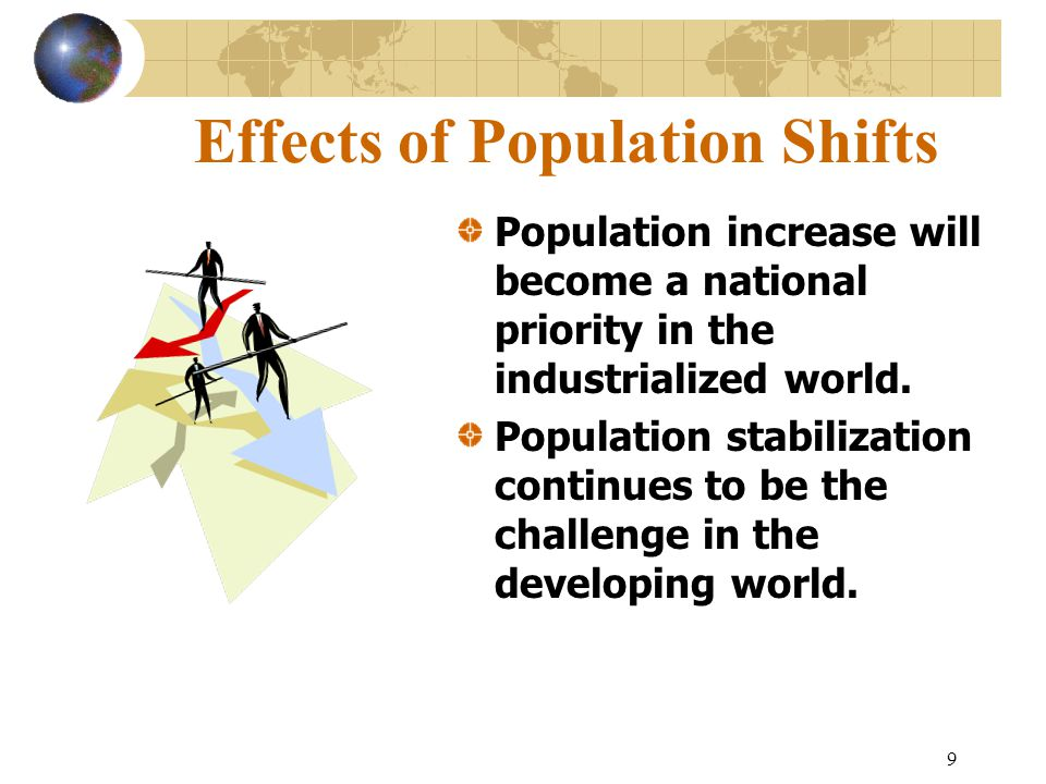 9 Effects of Population Shifts Population increase will become a national priority in the industrialized world.