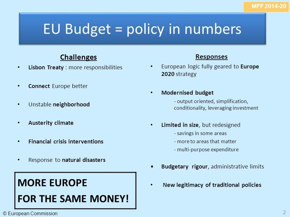 MFF 2014-20 © European Commission 2 Challenges Lisbon Treaty : more responsibilities Connect Europe better Unstable neighborhood Austerity climate Fin