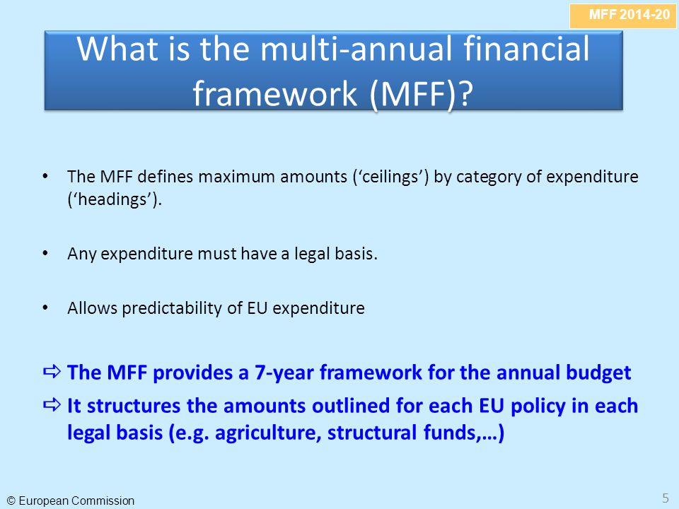 MFF 2014-20 © European Commission 5 The MFF defines maximum amounts ('ceilings') by category of expenditure ('headings'). Any expenditure must have a