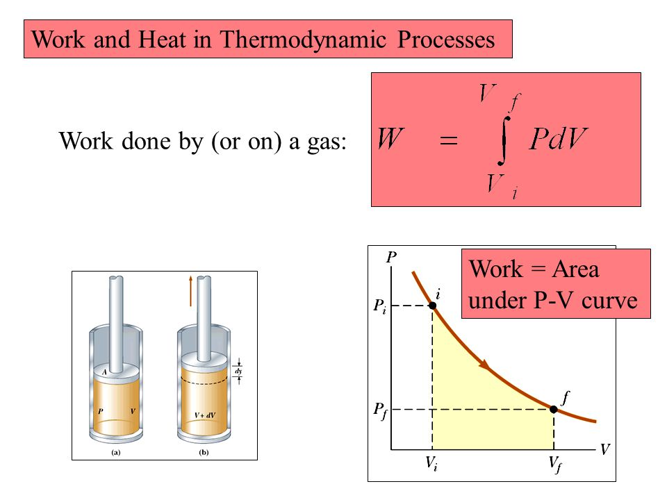 Work and Heat in Thermodynamic Processes Work done by (or on) a gas: Work = Area under P-V curve