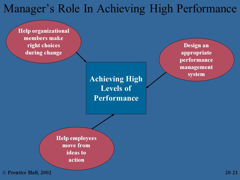Manager's Role In Achieving High Performance Help employees move from ideas to action Achieving High Levels of Performance Help organizational members make right choices during change Design an appropriate performance management system © Prentice Hall, 200220-21