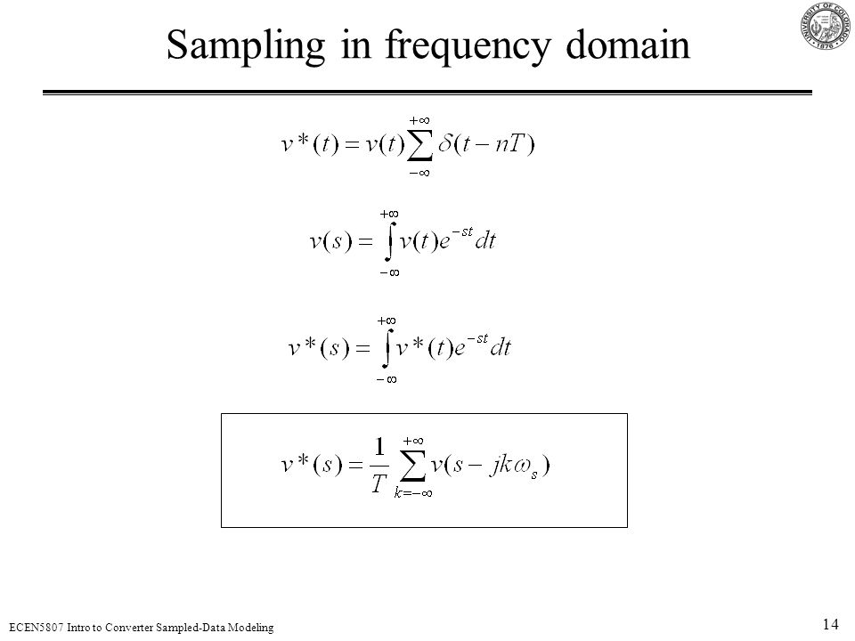 14 ECEN5807 Intro to Converter Sampled-Data Modeling Sampling in frequency domain