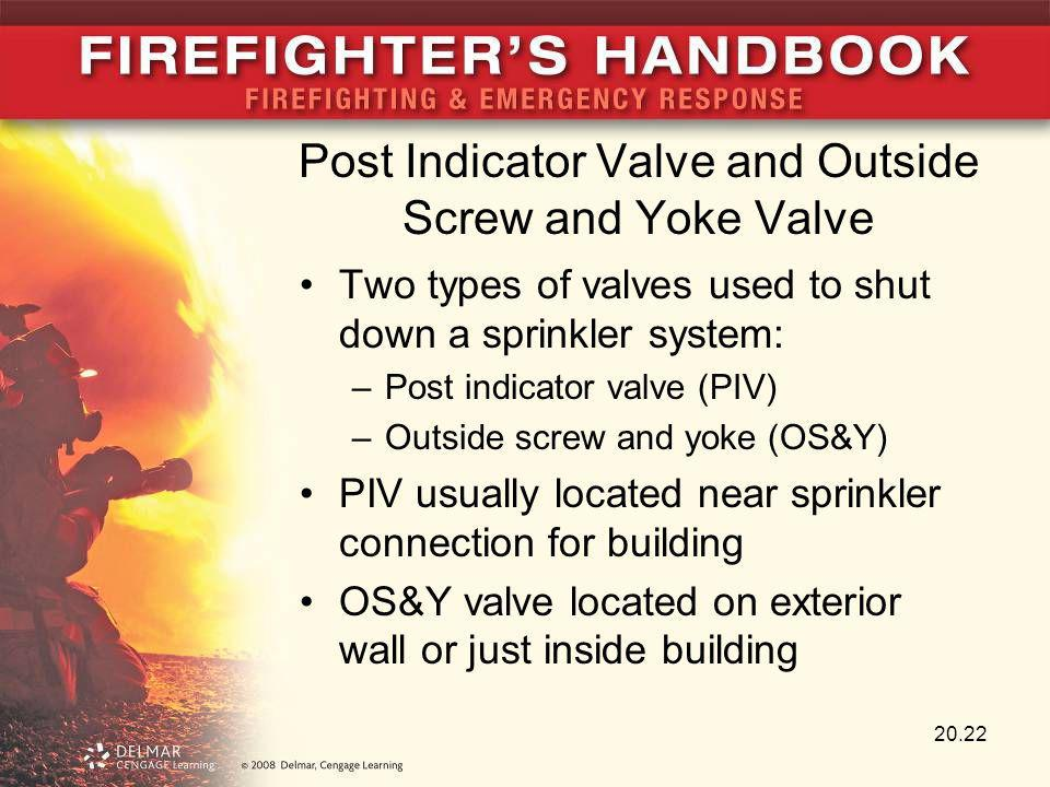 Post Indicator Valve and Outside Screw and Yoke Valve Two types of valves used to shut down a sprinkler system: –Post indicator valve (PIV) –Outside s