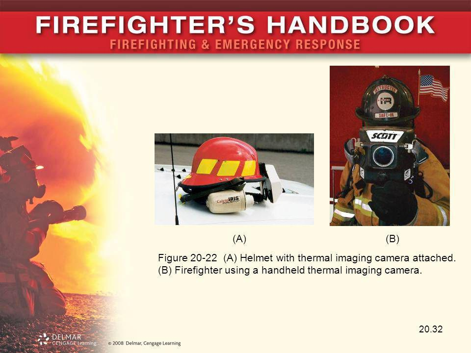 20.32 Figure 20-22 (A) Helmet with thermal imaging camera attached. (B) Firefighter using a handheld thermal imaging camera. (A)(B)