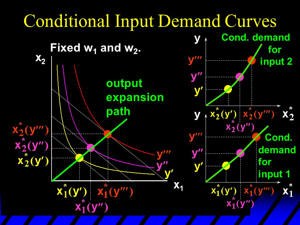 Fixed w 1 and w 2. Conditional Input Demand Curves output expansion path Cond. demand for input 2 Cond. demand for input 1