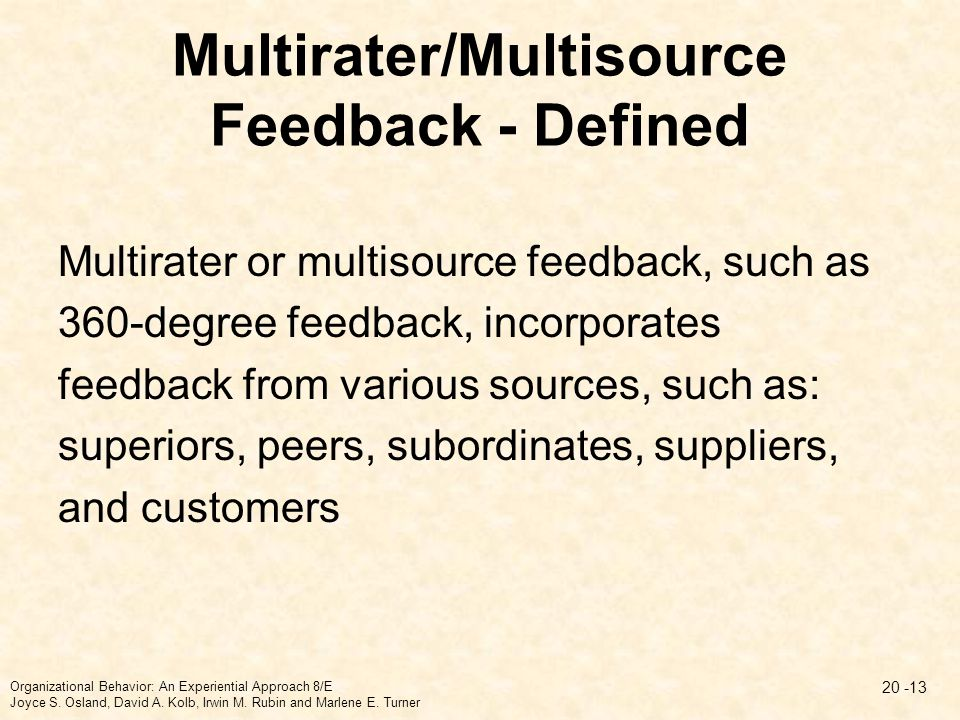 Multirater/Multisource Feedback - Defined Multirater or multisource feedback, such as 360-degree feedback, incorporates feedback from various sources,