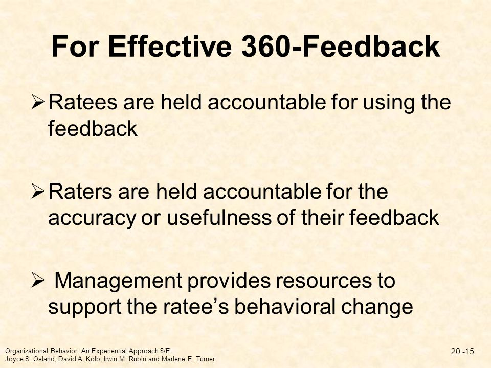 For Effective 360-Feedback  Ratees are held accountable for using the feedback  Raters are held accountable for the accuracy or usefulness of their