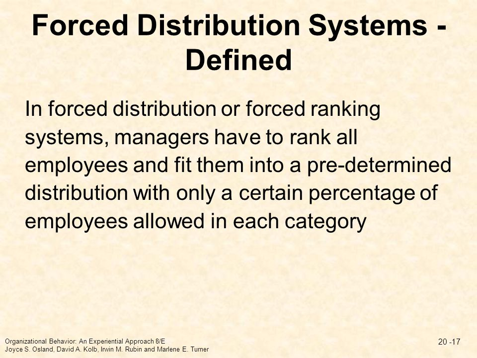 Forced Distribution Systems - Defined In forced distribution or forced ranking systems, managers have to rank all employees and fit them into a pre-de