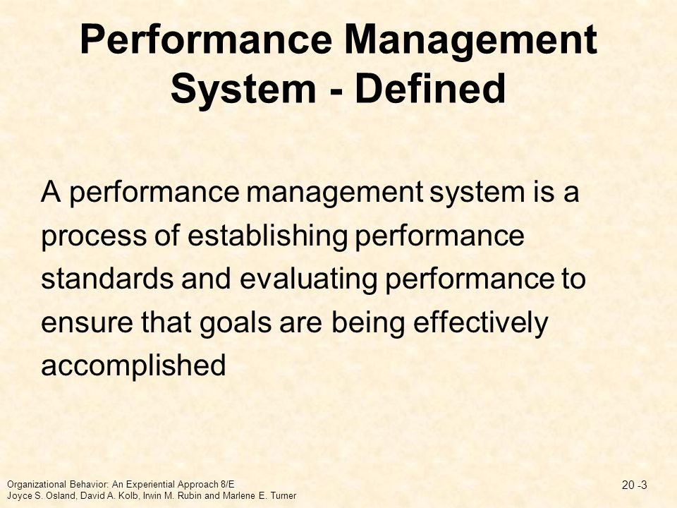 Performance Management System - Defined A performance management system is a process of establishing performance standards and evaluating performance
