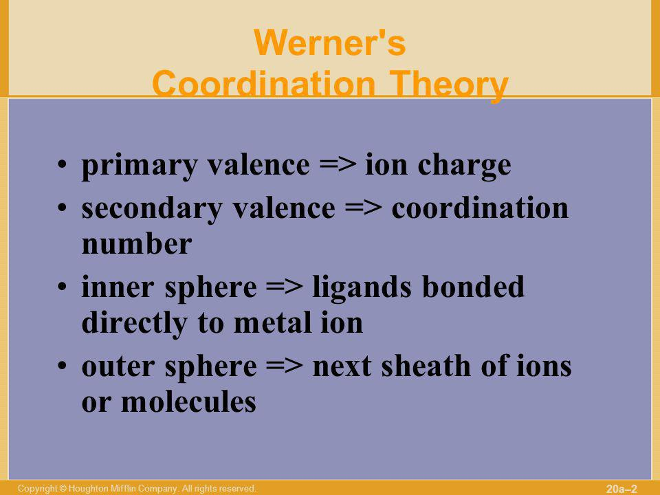 Copyright © Houghton Mifflin Company. All rights reserved. 20a–2 Werner's Coordination Theory primary valence => ion charge secondary valence => coord