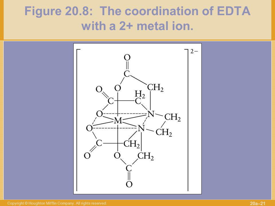 Copyright © Houghton Mifflin Company. All rights reserved. 20a–21 Figure 20.8: The coordination of EDTA with a 2+ metal ion.