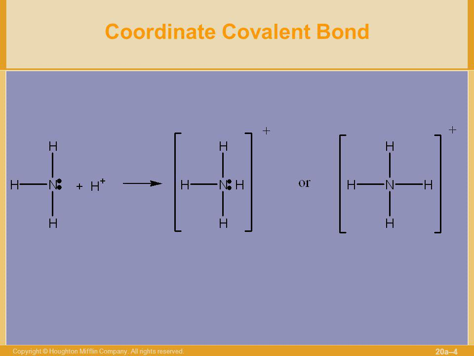 Copyright © Houghton Mifflin Company. All rights reserved. 20a–4 Coordinate Covalent Bond