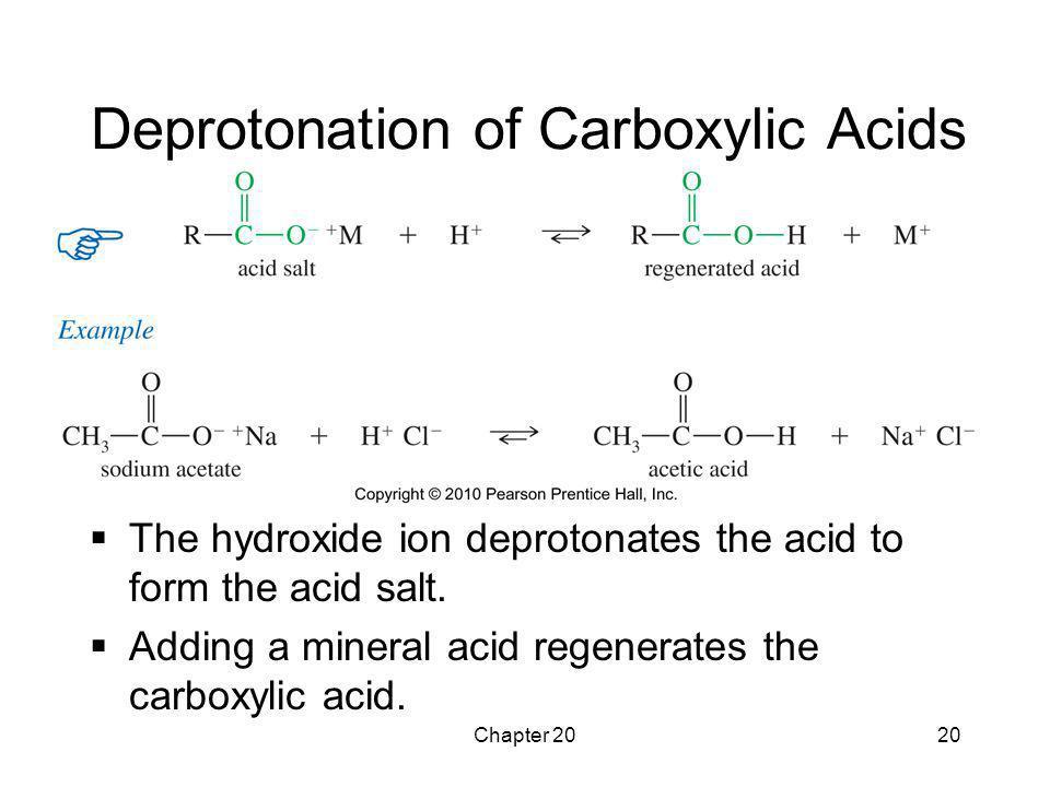 Chapter 2020 Deprotonation of Carboxylic Acids  The hydroxide ion deprotonates the acid to form the acid salt.  Adding a mineral acid regenerates th
