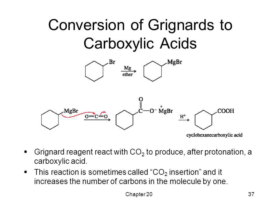 Chapter 2037 Conversion of Grignards to Carboxylic Acids  Grignard reagent react with CO 2 to produce, after protonation, a carboxylic acid.  This r