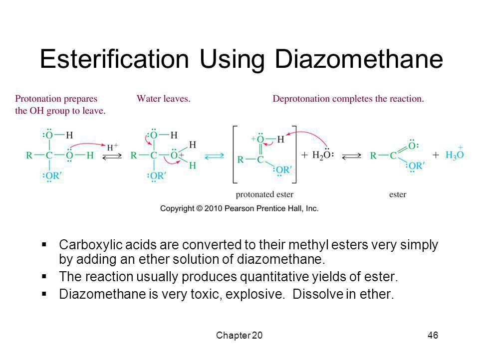 Chapter 2046 Esterification Using Diazomethane  Carboxylic acids are converted to their methyl esters very simply by adding an ether solution of diaz